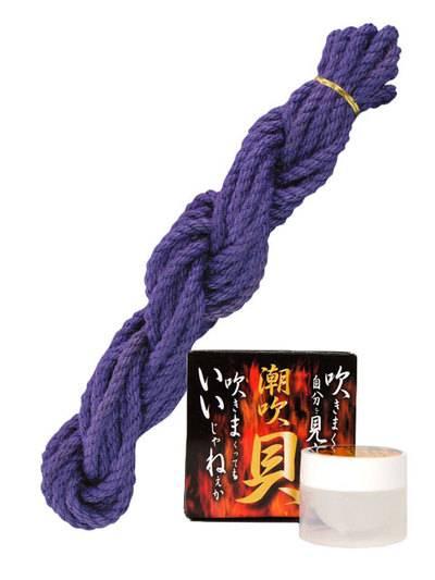 なめし麻縄ロープ 8m 紫+潮吹貝(しおふきがい)セット